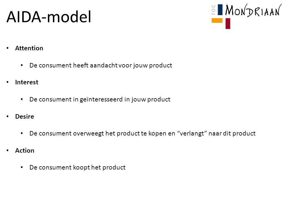 AIDA-model Attention De consument heeft aandacht voor jouw product Interest De consument in geïnteresseerd in jouw product Desire De consument overwee