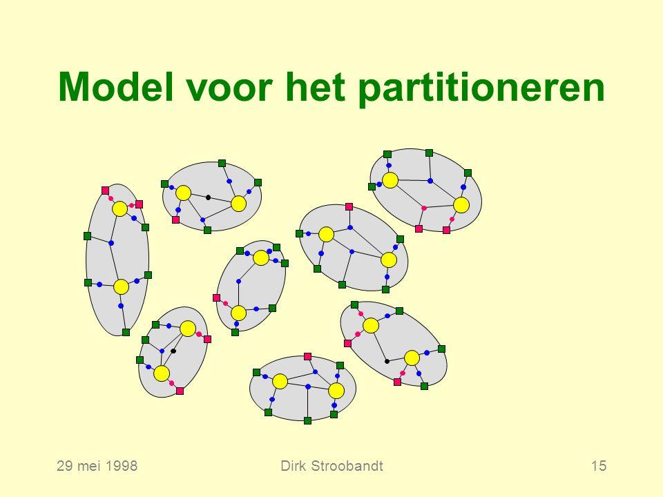 29 mei 1998Dirk Stroobandt15 Model voor het partitioneren