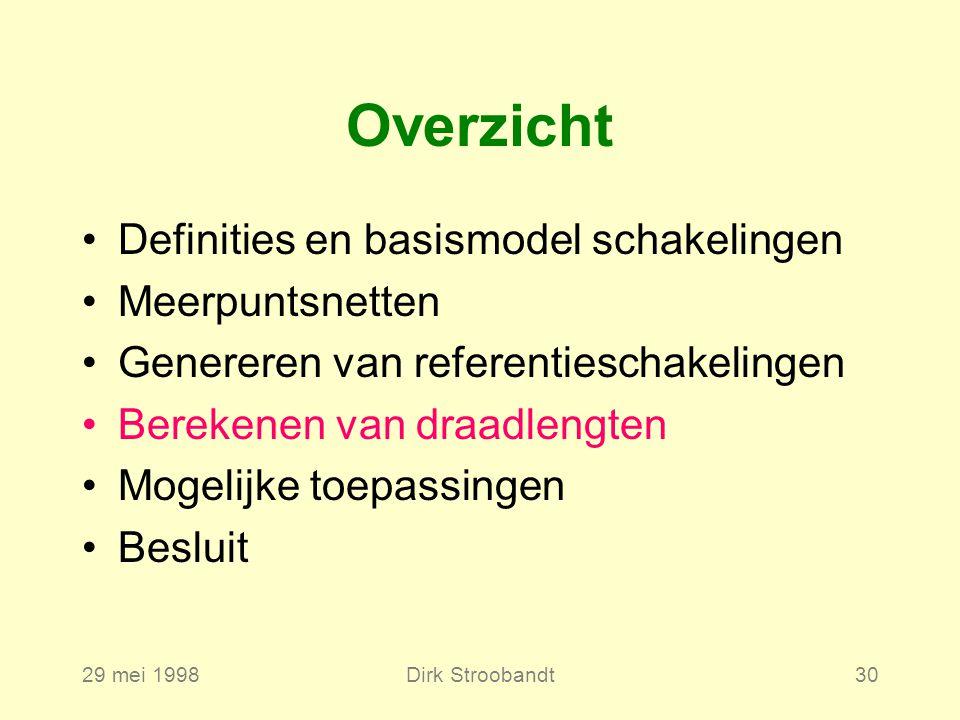 29 mei 1998Dirk Stroobandt30 Definities en basismodel schakelingen Meerpuntsnetten Genereren van referentieschakelingen Berekenen van draadlengten Mogelijke toepassingen Besluit Overzicht