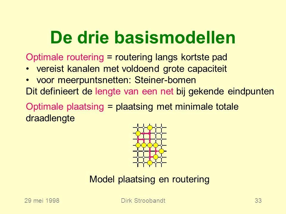 29 mei 1998Dirk Stroobandt33 De drie basismodellen Model plaatsing en routering Optimale routering = routering langs kortste pad vereist kanalen met v