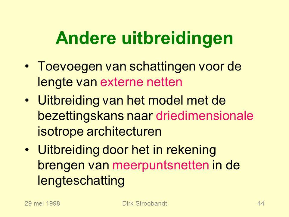 29 mei 1998Dirk Stroobandt44 Andere uitbreidingen Toevoegen van schattingen voor de lengte van externe netten Uitbreiding van het model met de bezettingskans naar driedimensionale isotrope architecturen Uitbreiding door het in rekening brengen van meerpuntsnetten in de lengteschatting