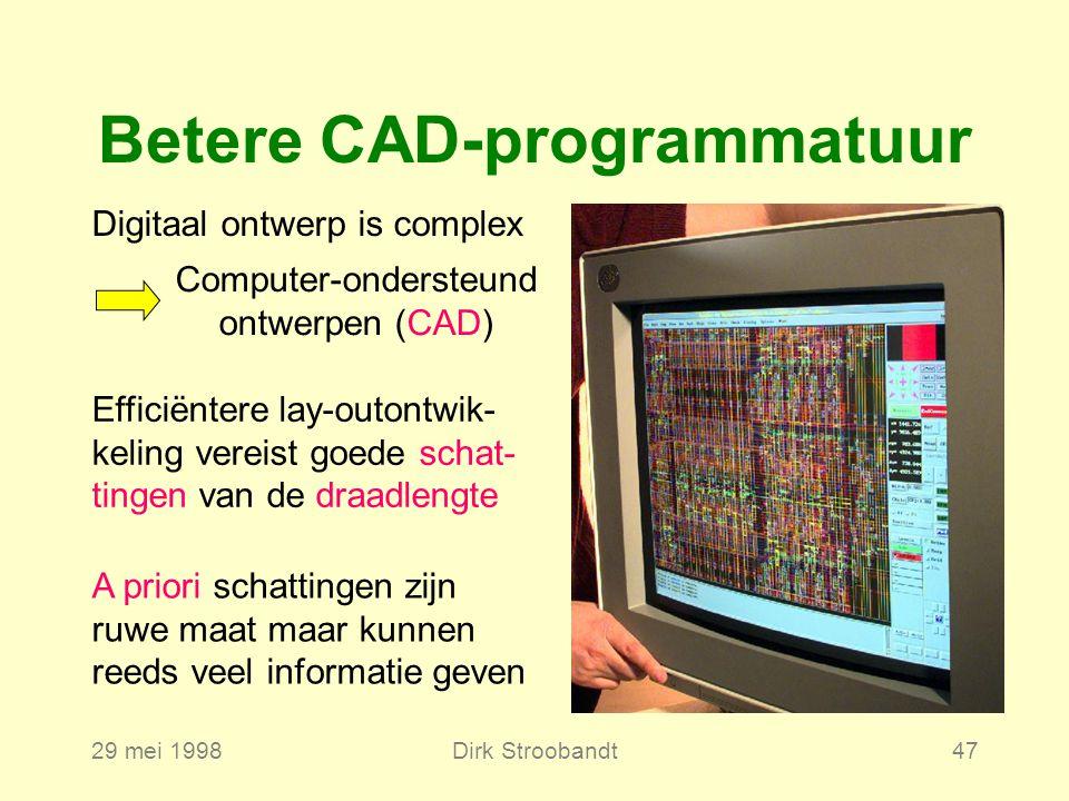 29 mei 1998Dirk Stroobandt47 Betere CAD-programmatuur Digitaal ontwerp is complex Computer-ondersteund ontwerpen (CAD) Efficiëntere lay-outontwik- keling vereist goede schat- tingen van de draadlengte A priori schattingen zijn ruwe maat maar kunnen reeds veel informatie geven