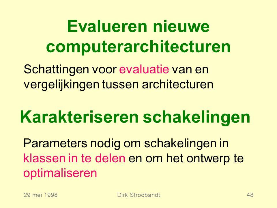 29 mei 1998Dirk Stroobandt48 Evalueren nieuwe computerarchitecturen Schattingen voor evaluatie van en vergelijkingen tussen architecturen Karakteriseren schakelingen Parameters nodig om schakelingen in klassen in te delen en om het ontwerp te optimaliseren