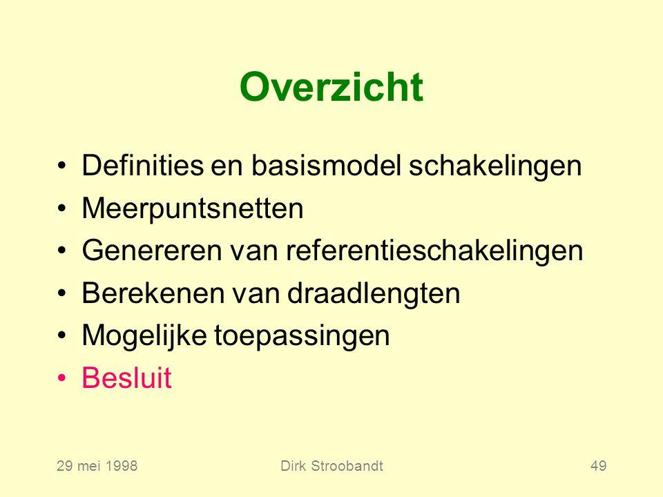 29 mei 1998Dirk Stroobandt49 Definities en basismodel schakelingen Meerpuntsnetten Genereren van referentieschakelingen Berekenen van draadlengten Mogelijke toepassingen Besluit Overzicht
