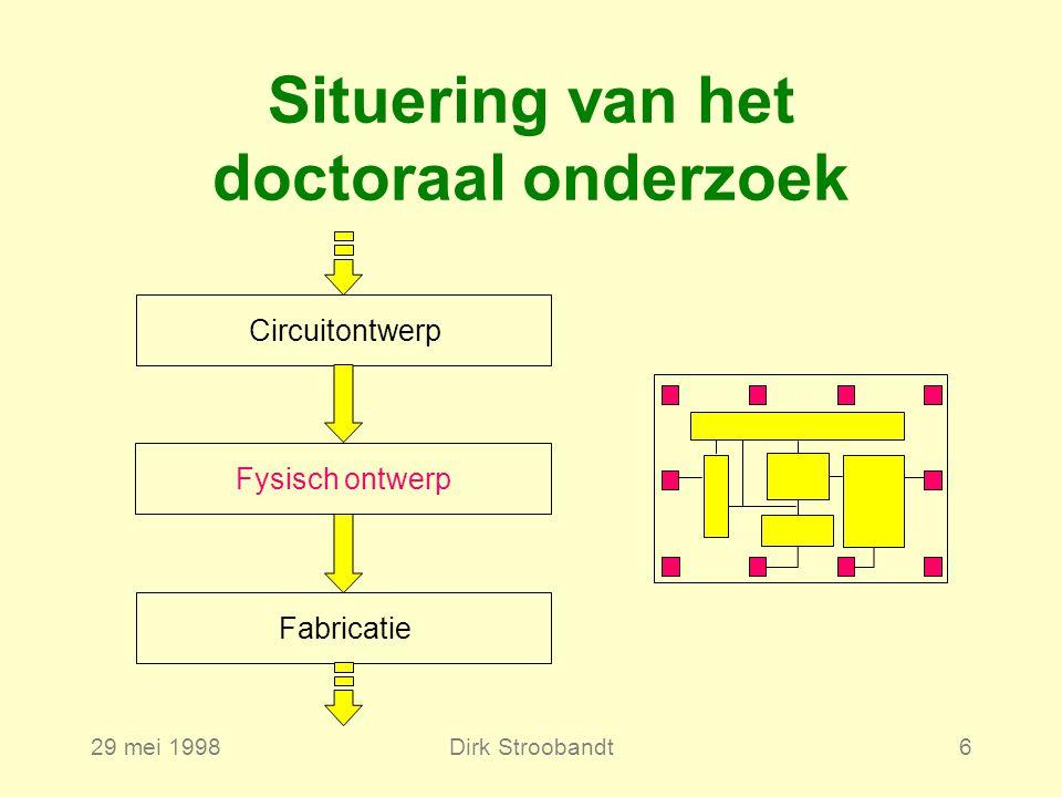 29 mei 1998Dirk Stroobandt6 CircuitontwerpFabricatieFysisch ontwerp Situering van het doctoraal onderzoek