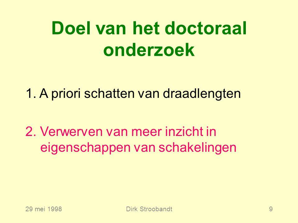 29 mei 1998Dirk Stroobandt9 1. A priori schatten van draadlengten 2.