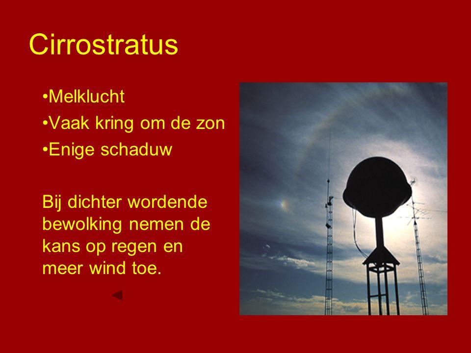 Cirrostratus Melklucht Vaak kring om de zon Enige schaduw Bij dichter wordende bewolking nemen de kans op regen en meer wind toe.
