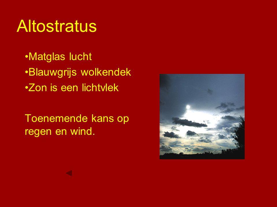 Altostratus Matglas lucht Blauwgrijs wolkendek Zon is een lichtvlek Toenemende kans op regen en wind.