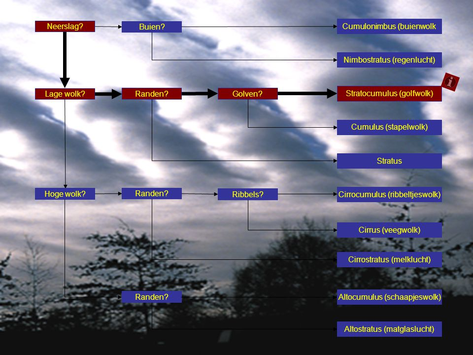 Neerslag? Buien? Lage wolk? Randen? Golven? Stratocumulus (golfwolk) Cumulus (stapelwolk) Stratus Hoge wolk? Randen? Ribbels? Cirrocumulus (ribbeltjes