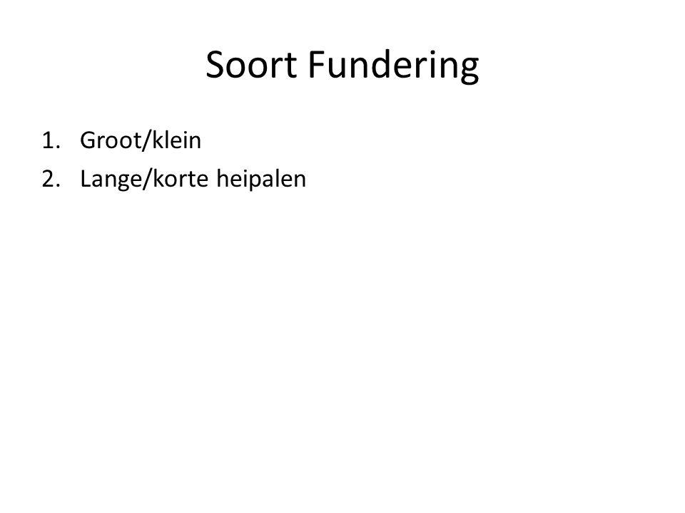 Soort Fundering 1.Groot/klein 2.Lange/korte heipalen