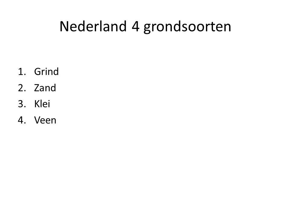 Nederland 4 grondsoorten 1.Grind 2.Zand 3.Klei 4.Veen