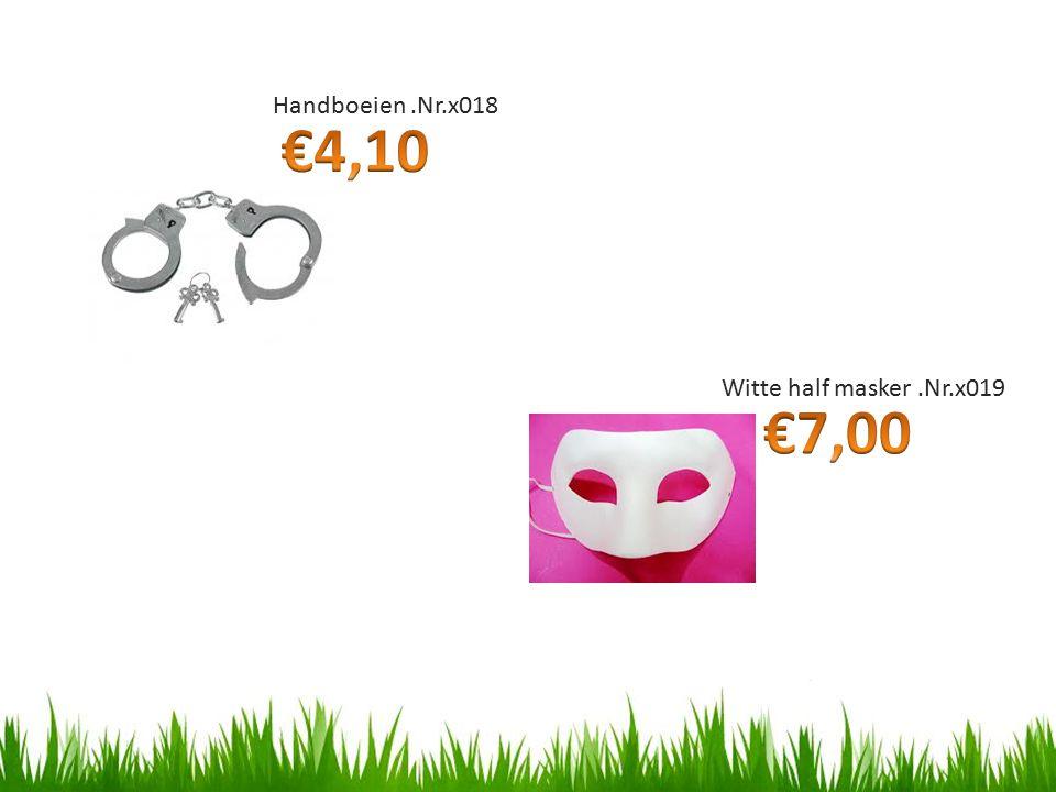 Handboeien.Nr.x018 Witte half masker.Nr.x019