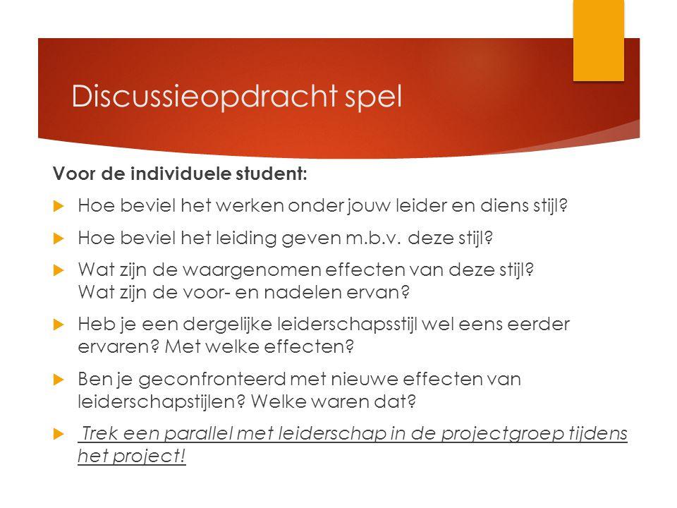 Discussieopdracht spel Voor de individuele student:  Hoe beviel het werken onder jouw leider en diens stijl.