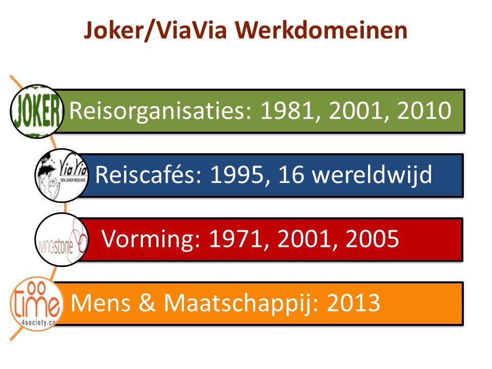 Joker/ViaVia Werkdomeinen Reisorganisaties: 1981, 2001, 2010 Reiscafés: 1995, 16 wereldwijd Vorming: 1971, 2001, 2005 Mens & Maatschappij: 2013