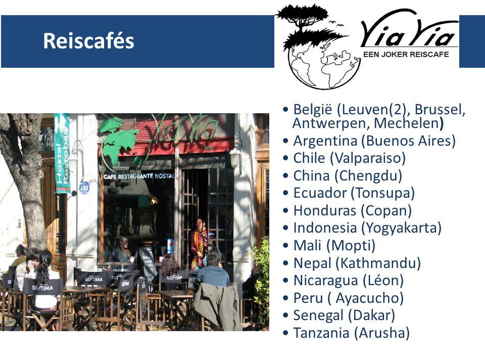 Reiscafés België (Leuven(2), Brussel, Antwerpen, Mechelen) Argentina (Buenos Aires) Chile (Valparaiso) China (Chengdu) Ecuador (Tonsupa) Honduras (Copan) Indonesia (Yogyakarta) Mali (Mopti) Nepal (Kathmandu) Nicaragua (Léon) Peru ( Ayacucho) Senegal (Dakar) Tanzania (Arusha)
