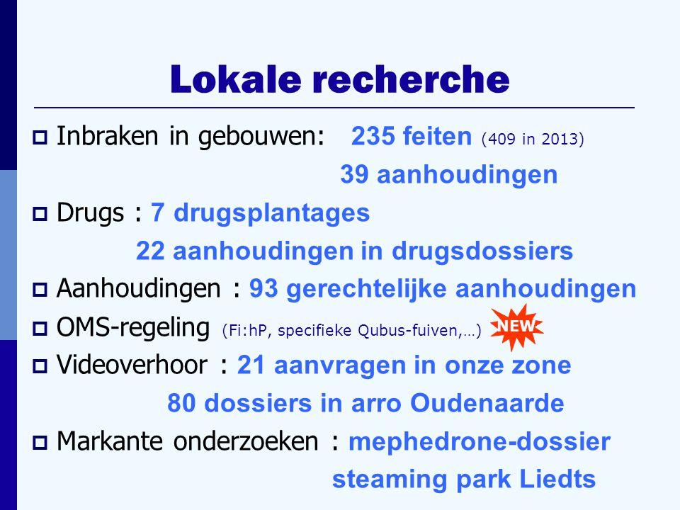  Inbraken in gebouwen: 235 feiten (409 in 2013) 39 aanhoudingen  Drugs : 7 drugsplantages 22 aanhoudingen in drugsdossiers  Aanhoudingen : 93 gerechtelijke aanhoudingen  OMS-regeling (Fi:hP, specifieke Qubus-fuiven,…)  Videoverhoor : 21 aanvragen in onze zone 80 dossiers in arro Oudenaarde  Markante onderzoeken : mephedrone-dossier steaming park Liedts NEW