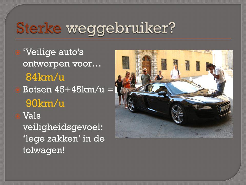  'Veilige auto's ontworpen voor… 84km/u  Botsen 45+45km/u = 90km/u  Vals veiligheidsgevoel: 'lege zakken' in de tolwagen!