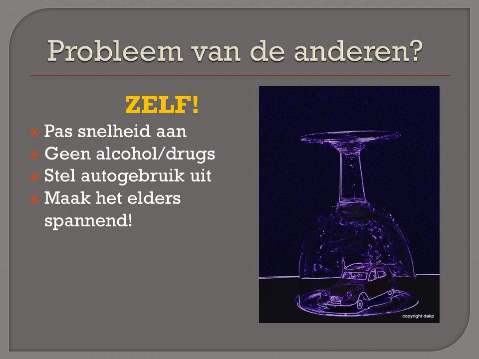 ZELF!  Pas snelheid aan  Geen alcohol/drugs  Stel autogebruik uit  Maak het elders spannend!