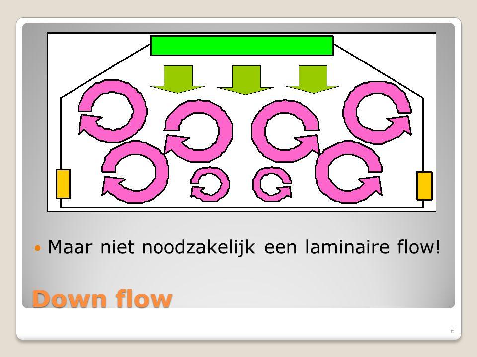 Down flow Maar niet noodzakelijk een laminaire flow! 6