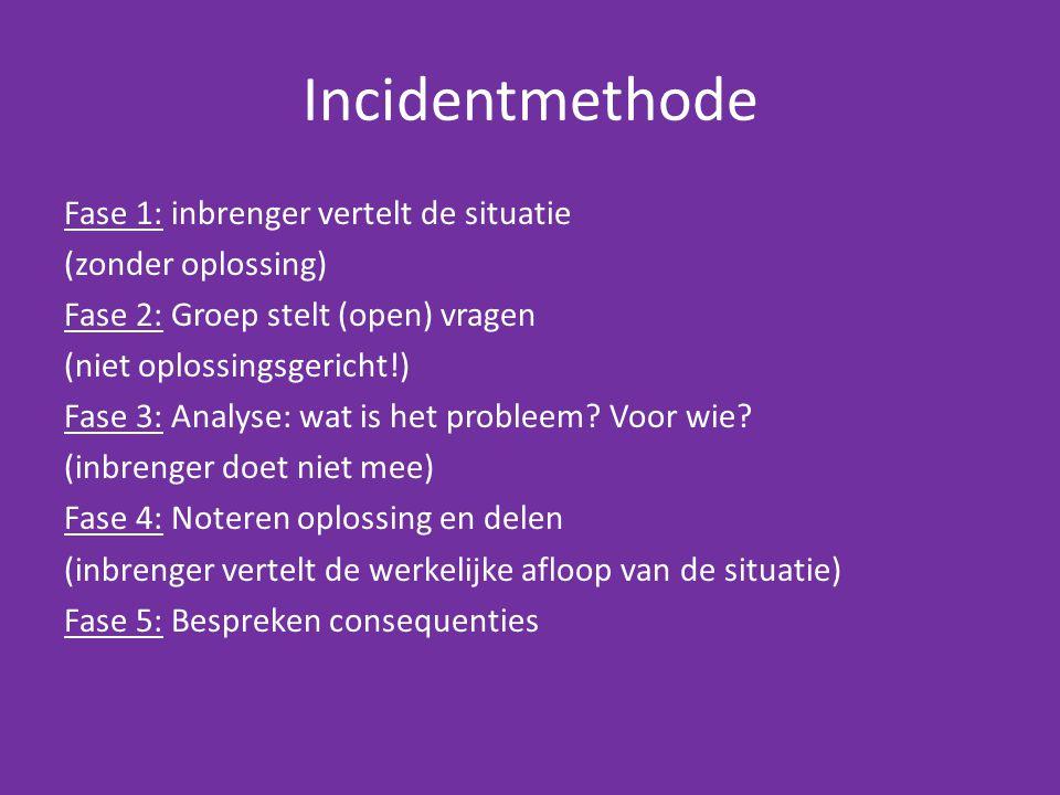 Incidentmethode Fase 1: inbrenger vertelt de situatie (zonder oplossing) Fase 2: Groep stelt (open) vragen (niet oplossingsgericht!) Fase 3: Analyse: