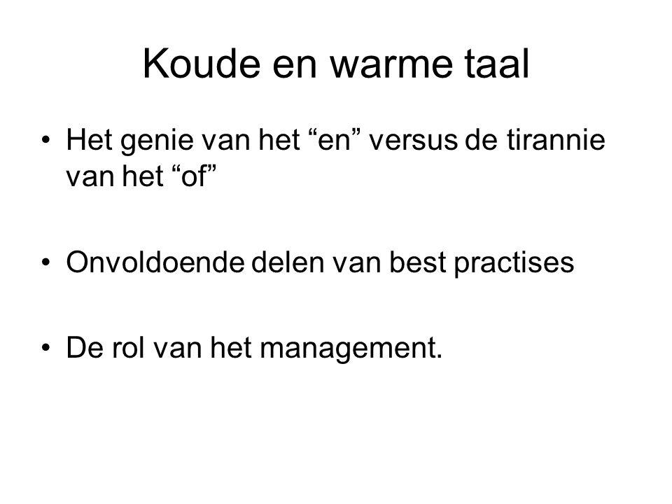 """Koude en warme taal Het genie van het """"en"""" versus de tirannie van het """"of"""" Onvoldoende delen van best practises De rol van het management."""