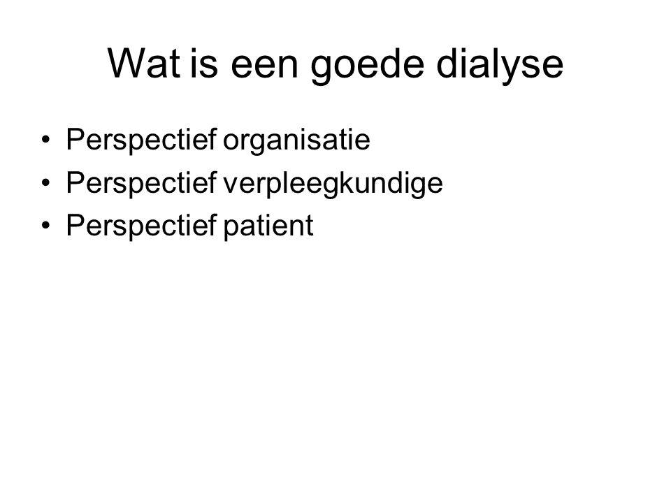 Wat is een goede dialyse Perspectief organisatie Perspectief verpleegkundige Perspectief patient