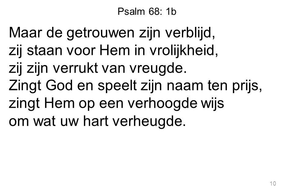 Psalm 68: 1b Maar de getrouwen zijn verblijd, zij staan voor Hem in vrolijkheid, zij zijn verrukt van vreugde.