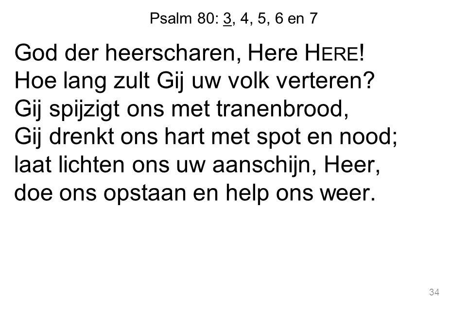 34 Psalm 80: 3, 4, 5, 6 en 7 God der heerscharen, Here H ERE .