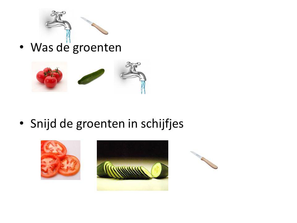 Was de groenten Snijd de groenten in schijfjes