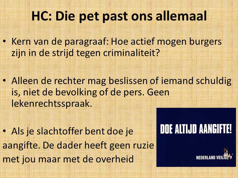 HC: Die pet past ons allemaal Kern van de paragraaf: Hoe actief mogen burgers zijn in de strijd tegen criminaliteit.