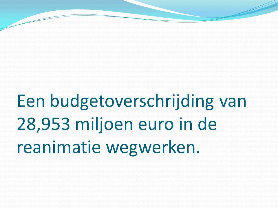 Een budgetoverschrijding van 28,953 miljoen euro in de reanimatie wegwerken.