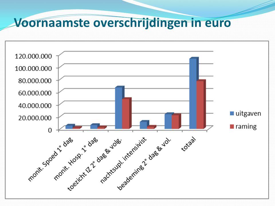 Voornaamste overschrijdingen in euro