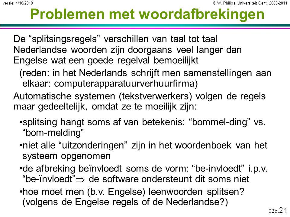 """© W. Philips, Universiteit Gent, 2000-2011versie: 4/10/2010 02b. 24 Problemen met woordafbrekingen De """"splitsingsregels"""" verschillen van taal tot taal"""