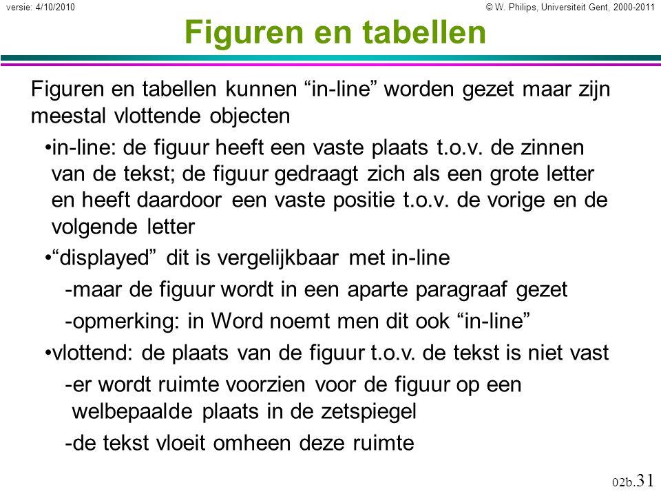 """© W. Philips, Universiteit Gent, 2000-2011versie: 4/10/2010 02b. 31 Figuren en tabellen Figuren en tabellen kunnen """"in-line"""" worden gezet maar zijn me"""