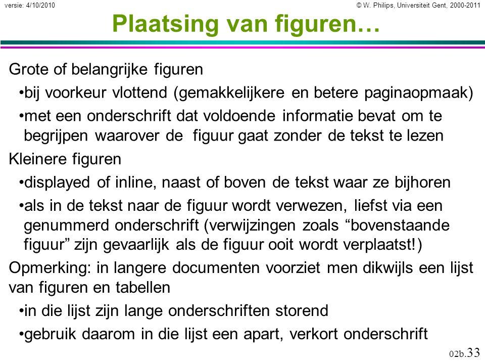 © W. Philips, Universiteit Gent, 2000-2011versie: 4/10/2010 02b. 33 Plaatsing van figuren… Grote of belangrijke figuren bij voorkeur vlottend (gemakke