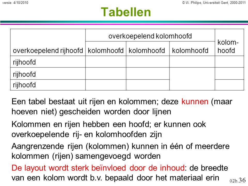 © W. Philips, Universiteit Gent, 2000-2011versie: 4/10/2010 02b. 36 Tabellen Een tabel bestaat uit rijen en kolommen; deze kunnen (maar hoeven niet) g