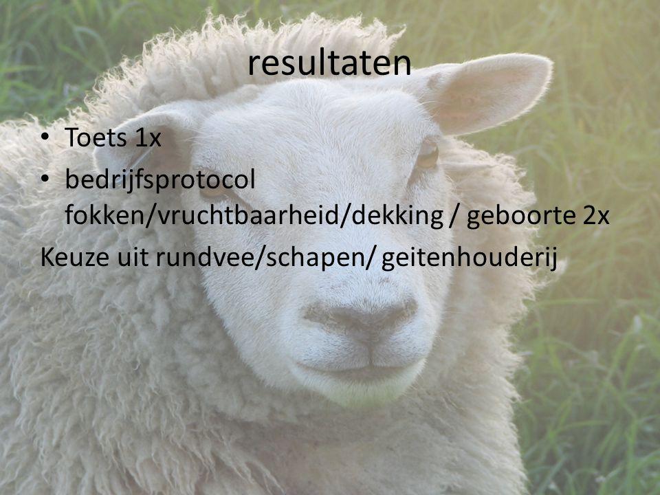resultaten Toets 1x bedrijfsprotocol fokken/vruchtbaarheid/dekking / geboorte 2x Keuze uit rundvee/schapen/ geitenhouderij