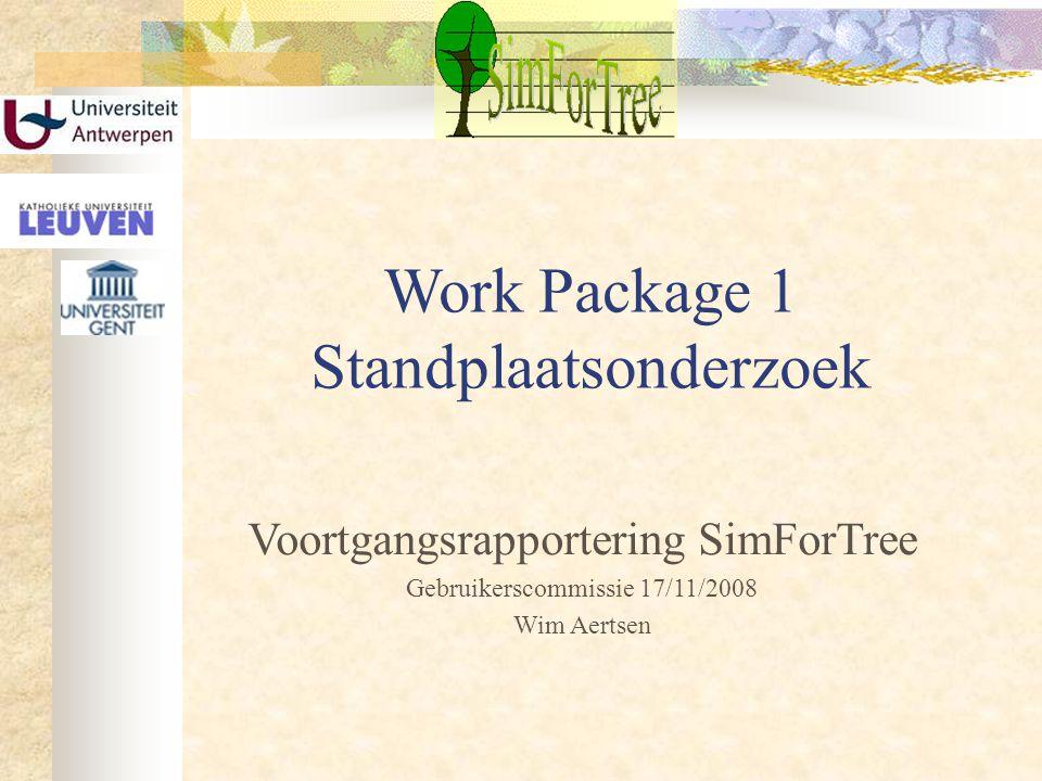 Work Package 1 Standplaatsonderzoek Voortgangsrapportering SimForTree Gebruikerscommissie 17/11/2008 Wim Aertsen