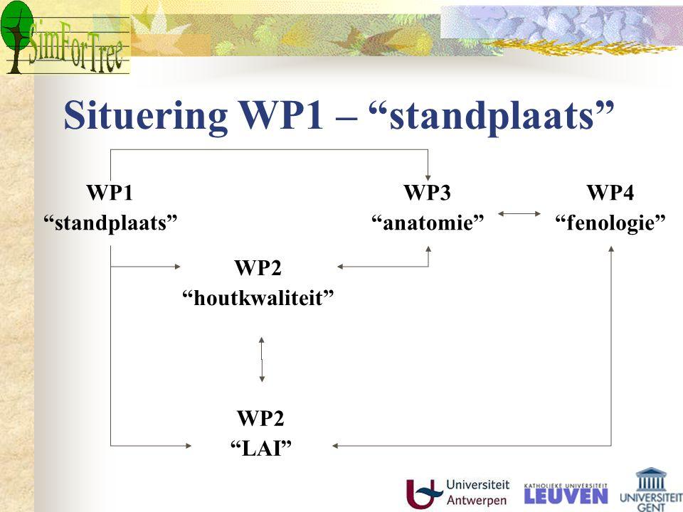"""Situering WP1 – """"standplaats"""" WP1 """"standplaats"""" WP3 """"anatomie"""" WP4 """"fenologie"""" WP2 """"houtkwaliteit"""" WP2 """"LAI"""""""