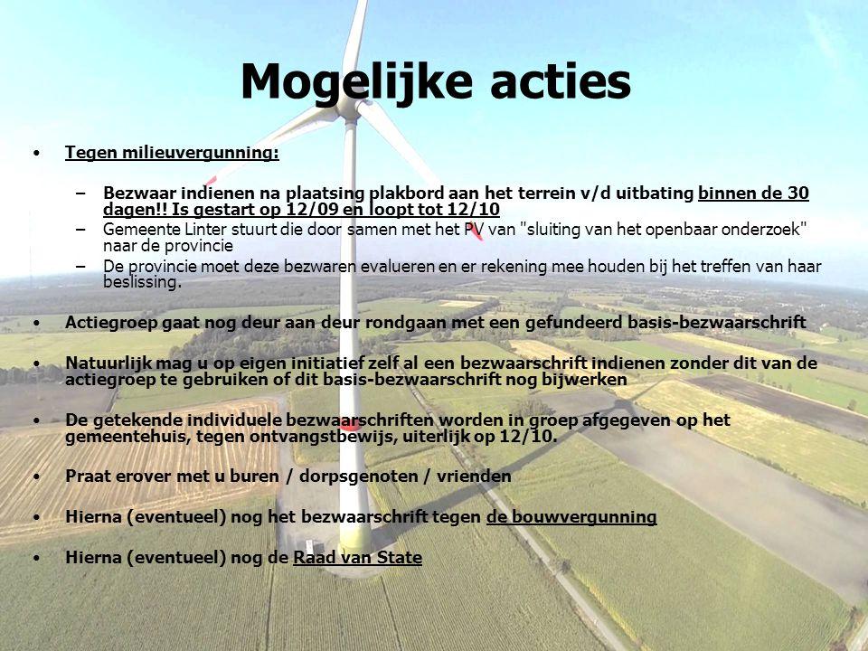 Mogelijke acties Tegen milieuvergunning: –Bezwaar indienen na plaatsing plakbord aan het terrein v/d uitbating binnen de 30 dagen!! Is gestart op 12/0