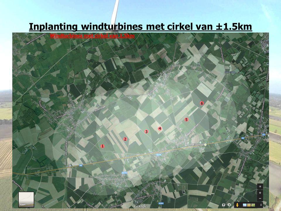 Inplanting windturbines met cirkel van ±1.5km