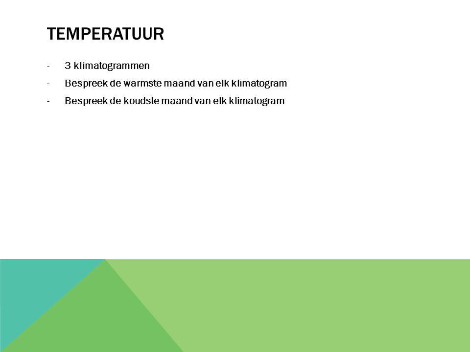TEMPERATUUR -3 klimatogrammen -Bespreek de warmste maand van elk klimatogram -Bespreek de koudste maand van elk klimatogram