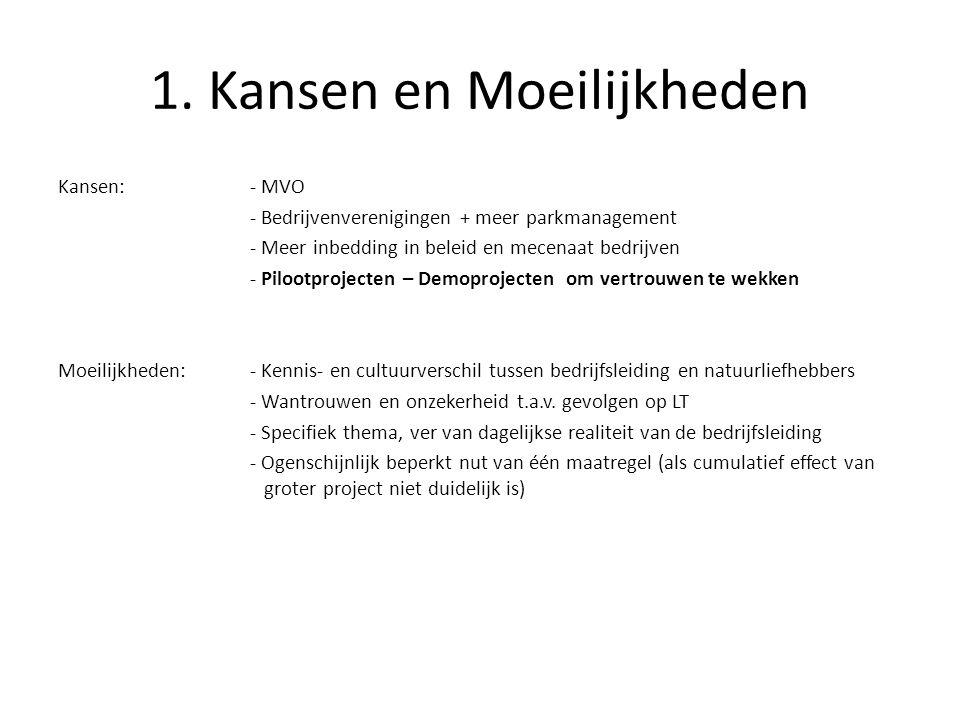 1. Kansen en Moeilijkheden Kansen:- MVO - Bedrijvenverenigingen + meer parkmanagement - Meer inbedding in beleid en mecenaat bedrijven - Pilootproject