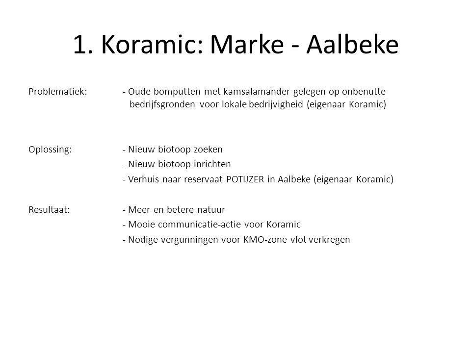 1. Koramic: Marke - Aalbeke Problematiek:- Oude bomputten met kamsalamander gelegen op onbenutte bedrijfsgronden voor lokale bedrijvigheid (eigenaar K