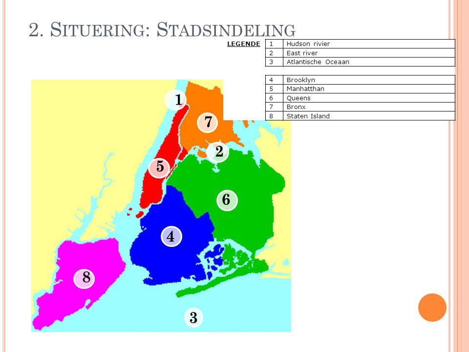 2. S ITUERING : S TADSINDELING LEGENDE1Hudson rivier 2East river 3Atlantische Oceaan 4Brooklyn 5Manhatthan 6Queens 7Bronx 8Staten Island 1 2 3 4 5 6 7