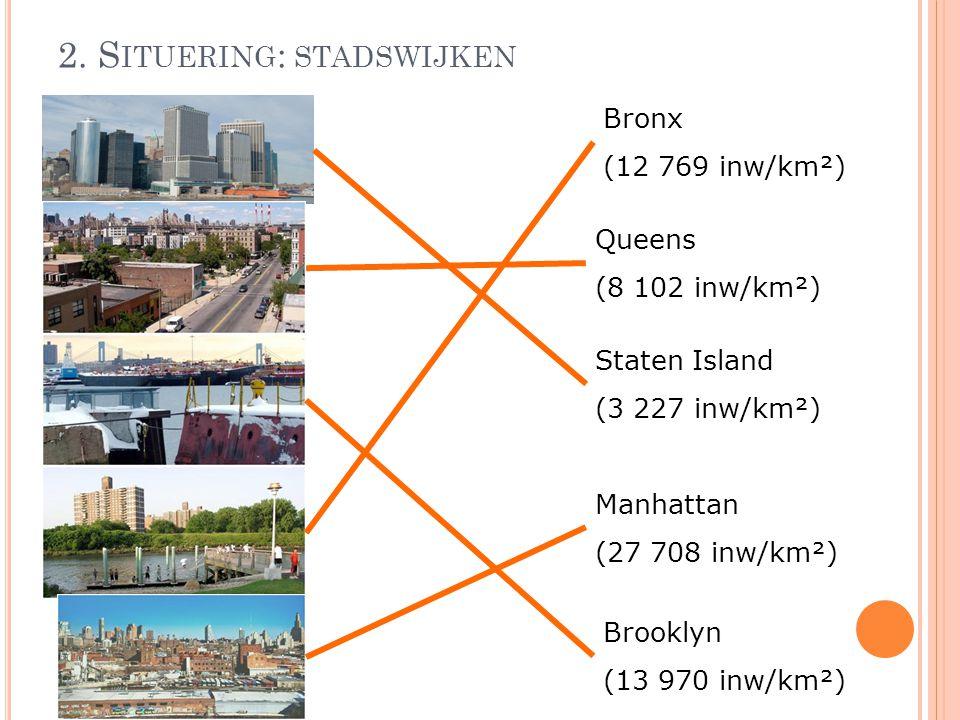 2. S ITUERING : STADSWIJKEN Bronx (12 769 inw/km²) Queens (8 102 inw/km²) Staten Island (3 227 inw/km²) Manhattan (27 708 inw/km²) Brooklyn (13 970 in