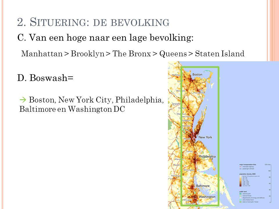 C. Van een hoge naar een lage bevolking: D. Boswash= 2. S ITUERING : DE BEVOLKING Manhattan > Brooklyn > The Bronx > Queens > Staten Island  Boston,