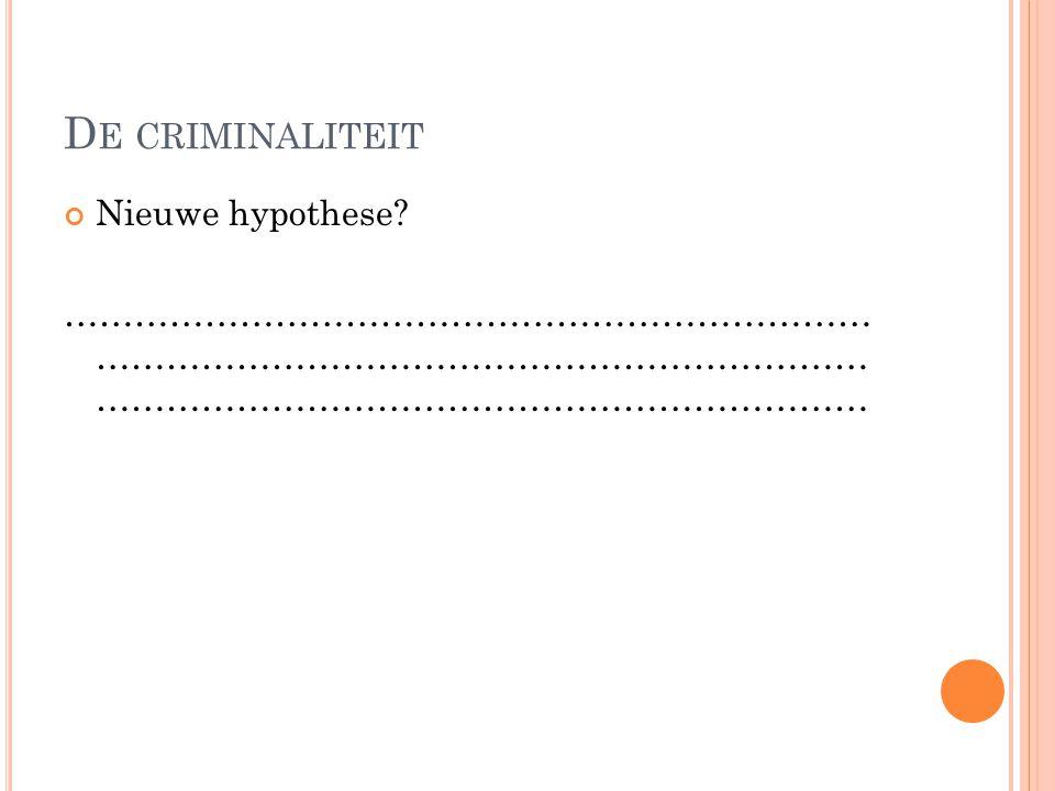 D E CRIMINALITEIT Nieuwe hypothese? …………………………………………………………… ………………………………………………………… …………………………………………………………