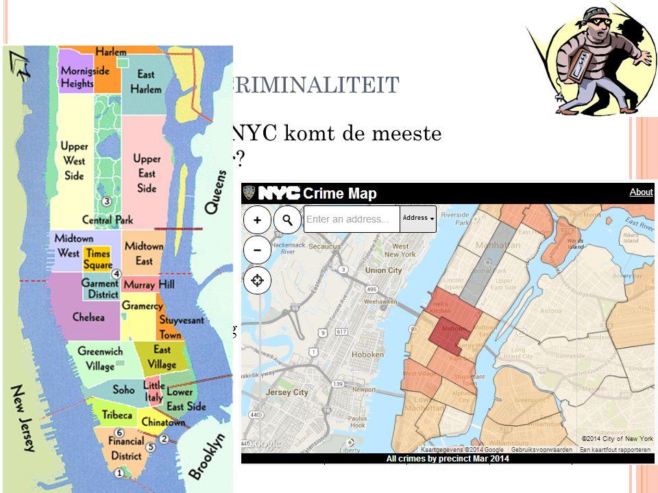 2. S ITUERING : CRIMINALITEIT In welke wijk in NYC komt de meeste criminaliteit voor? Waarom daar?  Garment District  Dichtst bevolkte gebied, veel