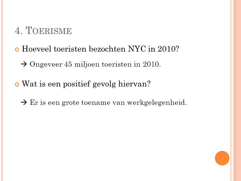 Hoeveel toeristen bezochten NYC in 2010? Wat is een positief gevolg hiervan?  Ongeveer 45 miljoen toeristen in 2010.  Er is een grote toename van we